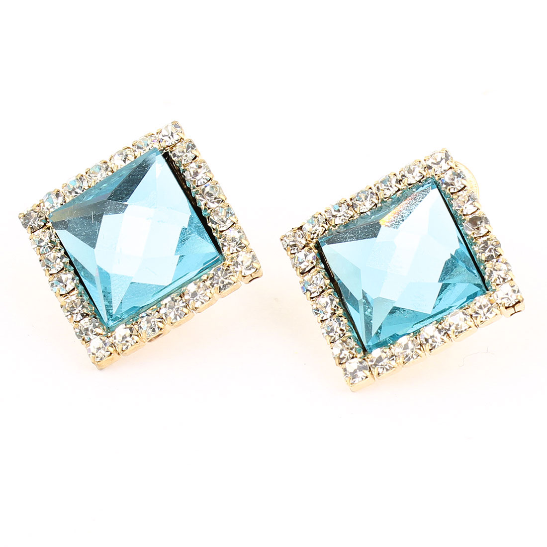 Turquoise Plastic Rhinestone Detail French Clip Stud Earrings 2pcs for Women