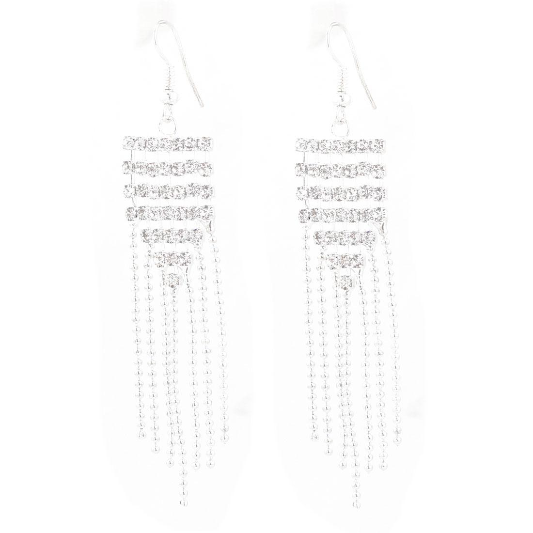 2 Pcs 8cm Faux Rhinestone Detail Tassel Dangle Earrings for Lady