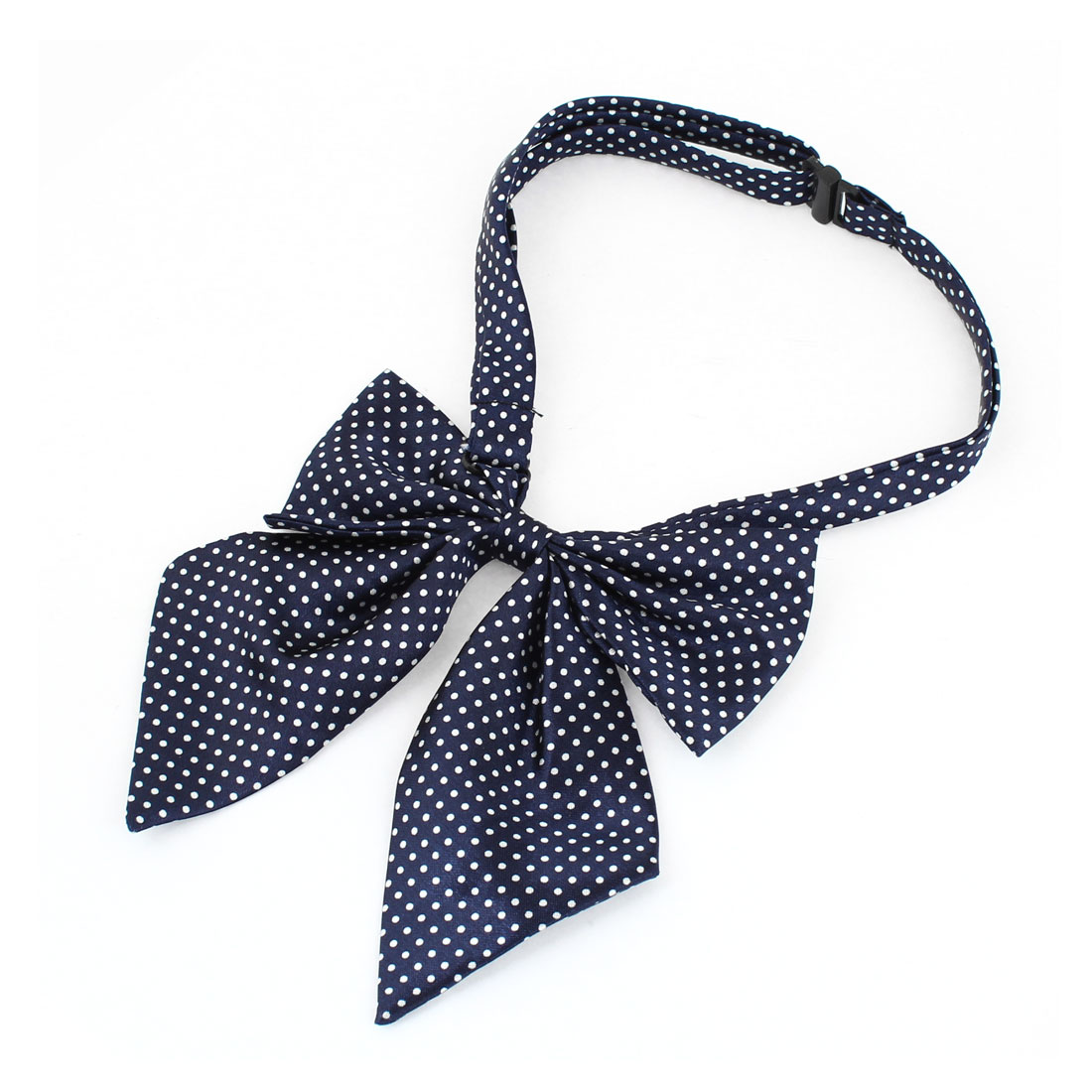 Navy Blue White Dot Pattern Bowknot Halter Neck Bow Tie for Women