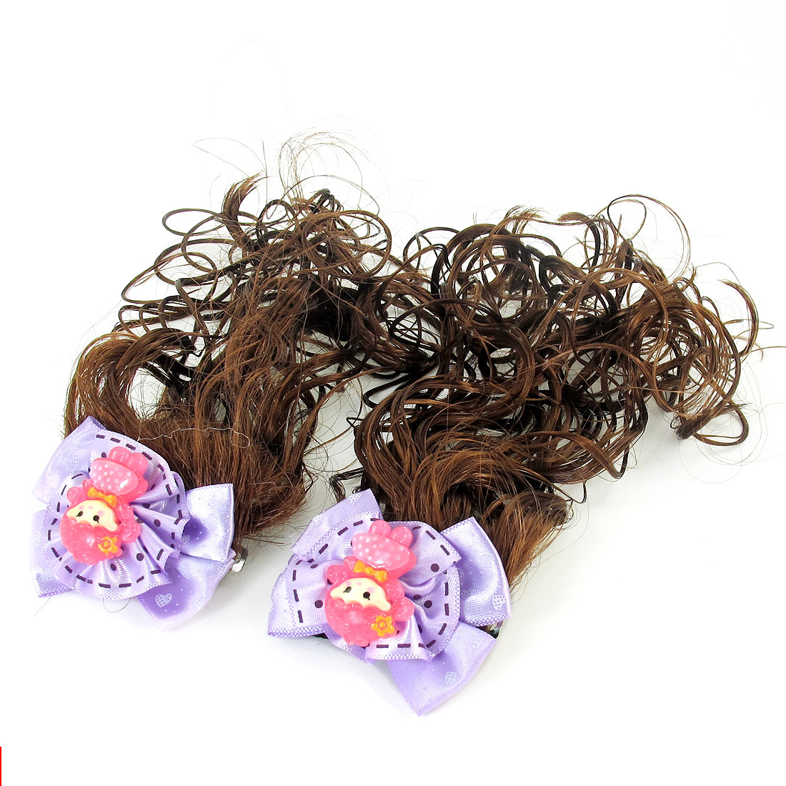 2 Pcs Kids Girls Purple Flower Detail Brown Curly Wavy Wig French Clip Hairclip