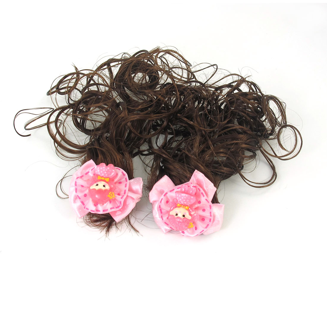 2 Pcs Kids Girls Pink Flower Detail Brown Curly Wavy Wig French Clip Hairclip