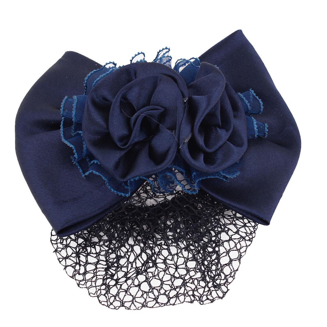 Navy Blue Double Rose Decor Snood Net Hair Clip Hairnet Hairclip for Women