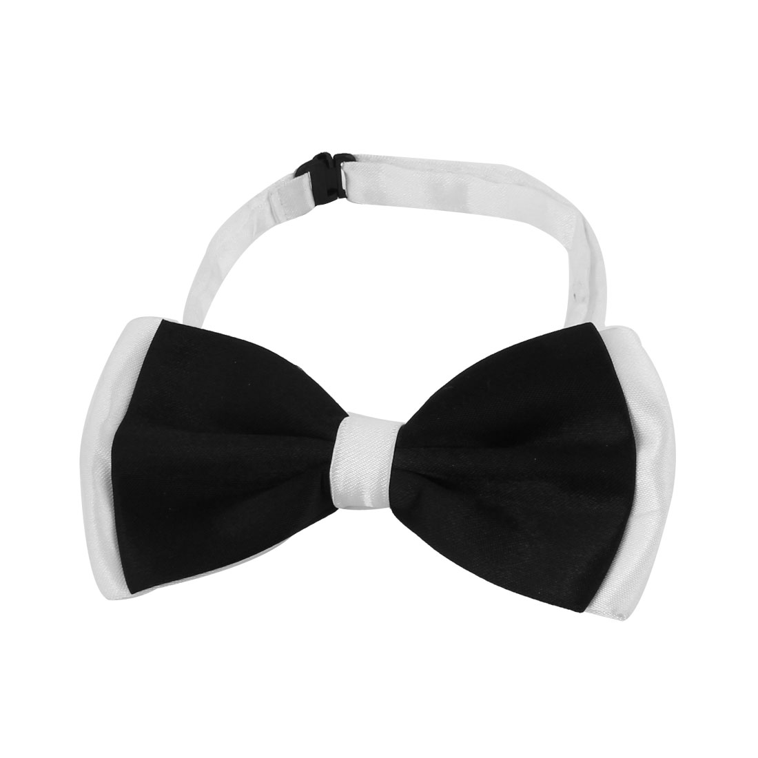 Ladies Women Black White Bowknot Accent Adjustable Neck Bow Tie