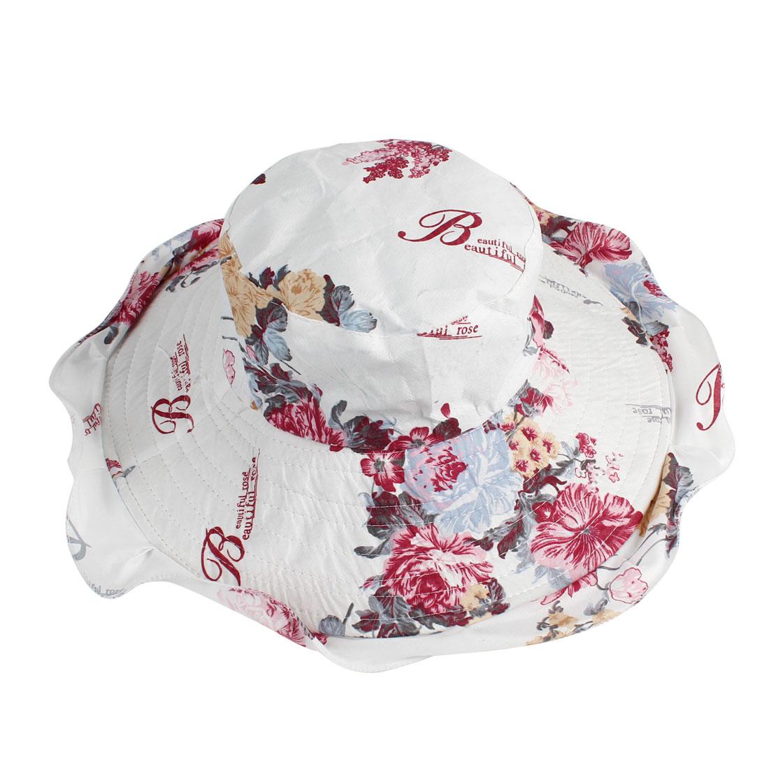 Peony Pattern Wide Sun Visor Bucket Cap Hat Gray Red for Women
