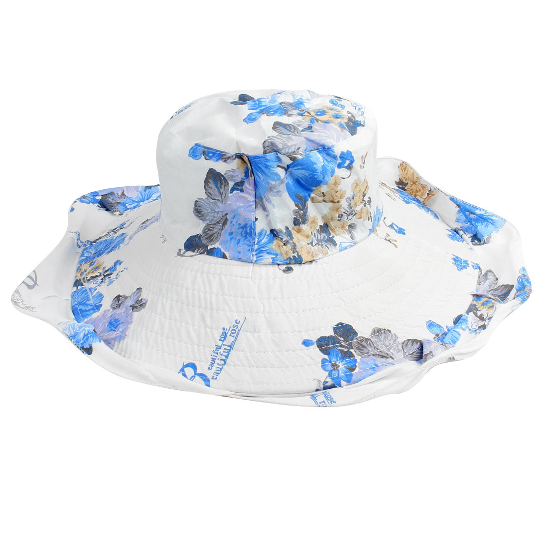 Beige Blue Plum Blossom Pattern Sun Visor Bucket Hat for Woman