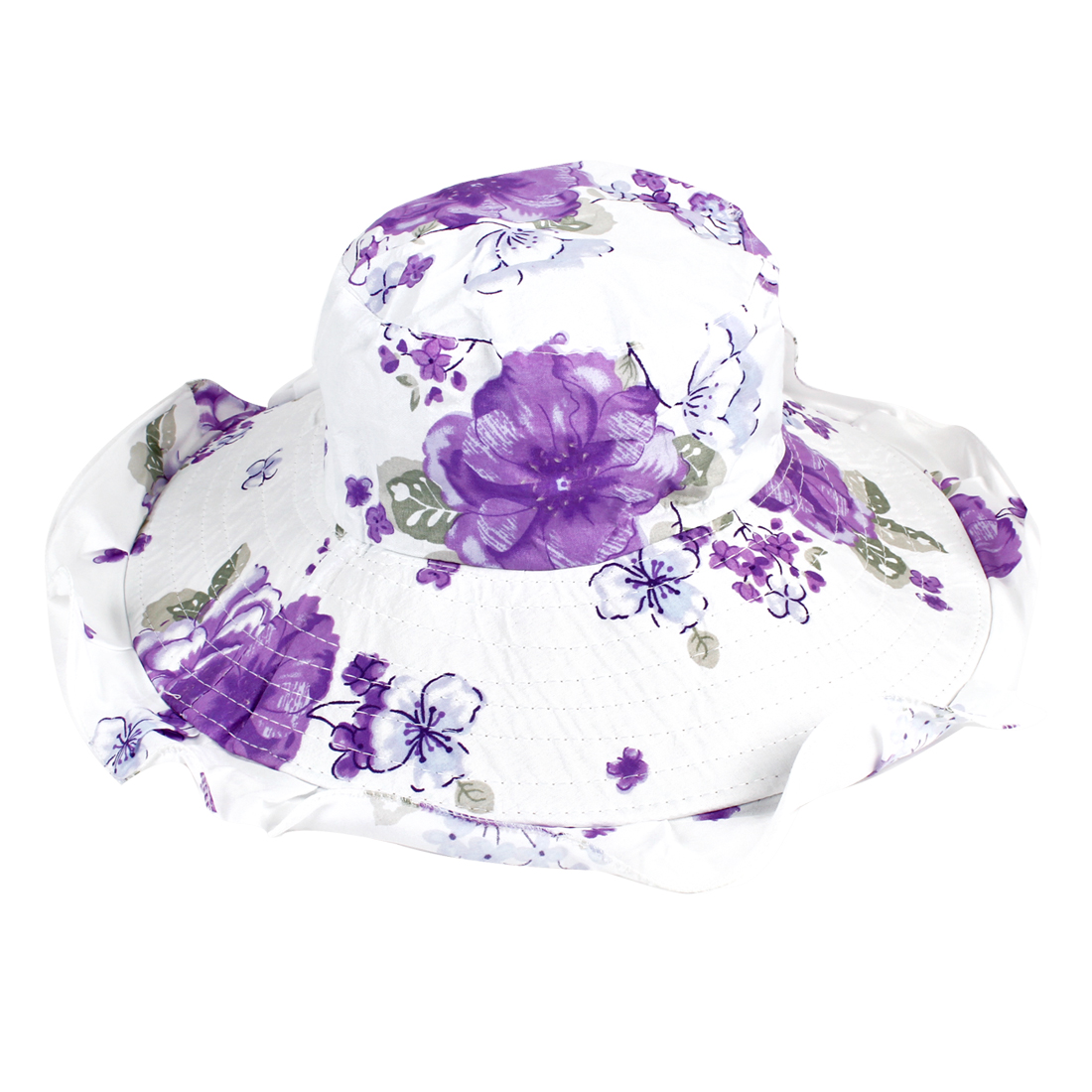 Purple White Flower Pattern Chin Strap Bucket Cap Hat for Women