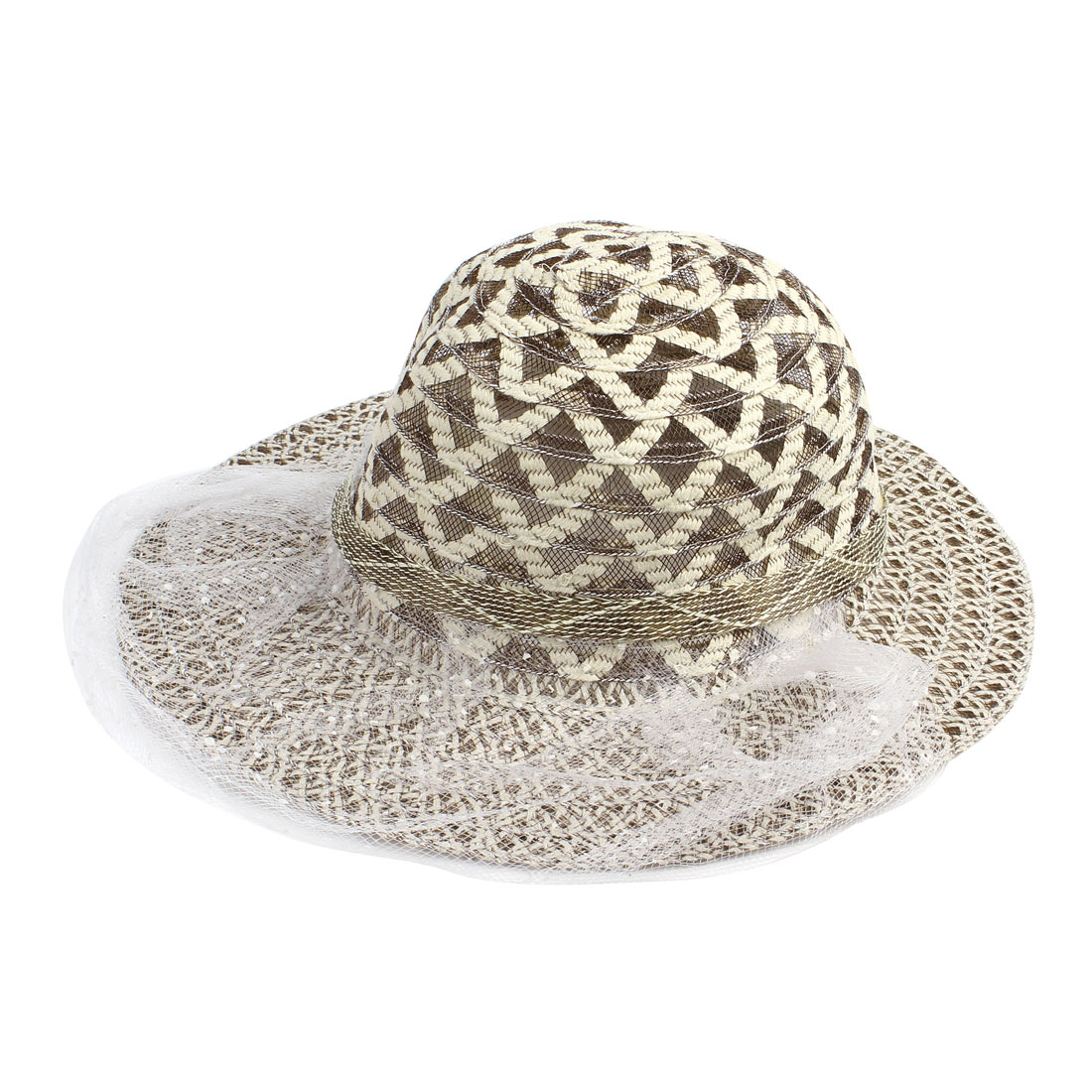White Beige Lace Inlaid Sun Visor Boater Cap Hat for Women