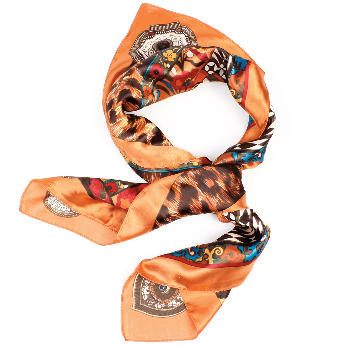 Colorful Flower Pattern Orange Hem Polyester Kerchief Neckerchief for Lady