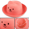 Kids Lovely 3D Bear Head Design Elastic Neck Strap Design Watermelon Red Hat