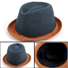 Kids Rolled Brim Western Design Classic Cowboy Hat Camel Dark Blue