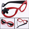 2 Pcs Children Flower Decor Black Red No Lens Plastic Full Rim Glasses Frame