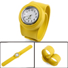 Fancy Yellow Color Round Dial Fluorescent Minute Hand Design Watch for Kids