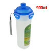 Home Office 900ml Blue Cap Clear Plastic Tea Water Bottle Container Holder