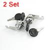 Silver Tone Metallic 18.5 x 17mm Thread Cabinet Desk Drawer Cam Lock 2 Set
