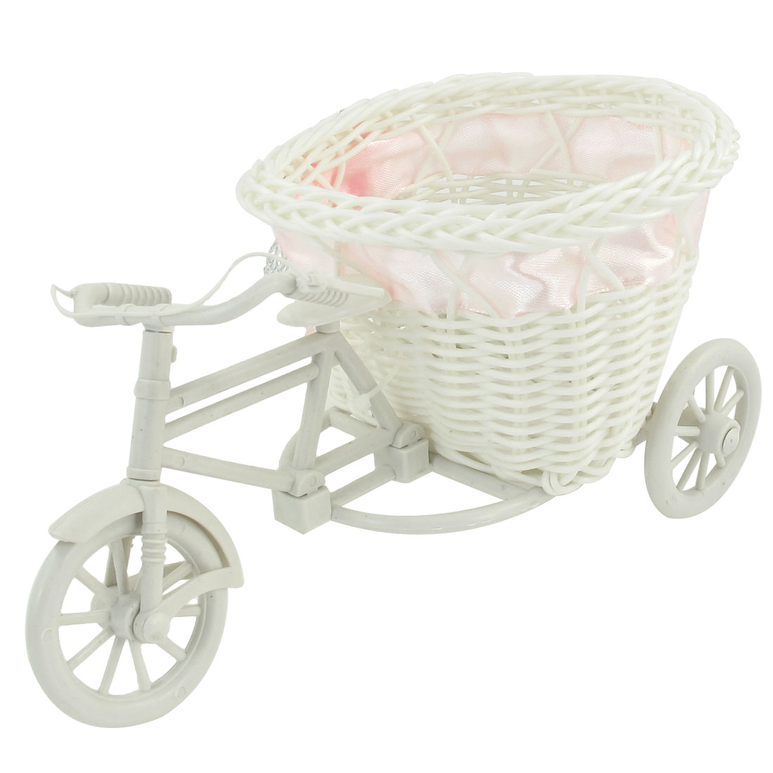 White Plastic Tricycle Design Pink Flower Decor Heart Shaped Weave Basket Storage Holder