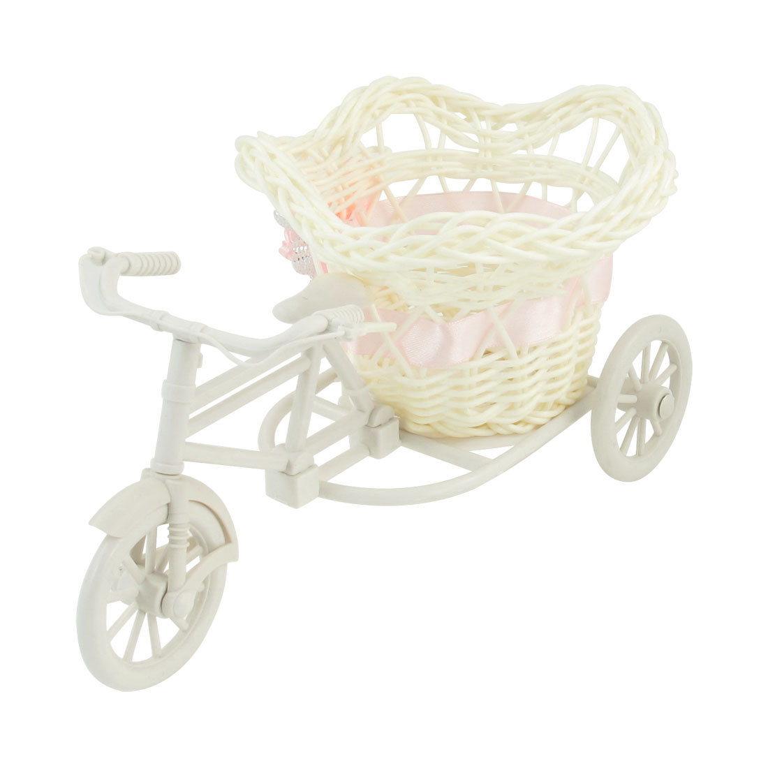 White Plastic Tricycle Design Pink Bowknot Decor Rattan Flower Basket Planter
