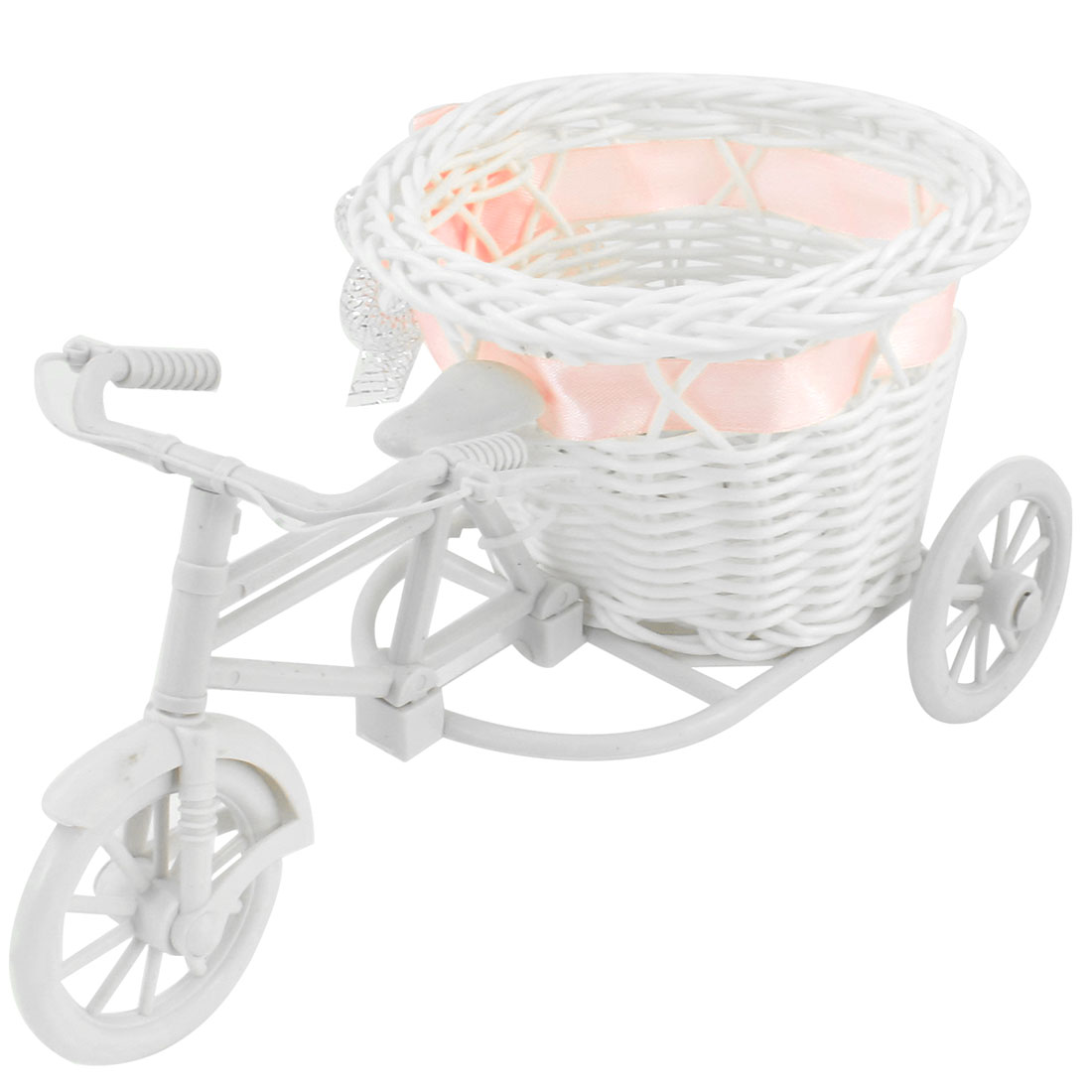 White Plastic Tricycle Design Pink Bowknot Decor Round Rattan Basket Storage Holder