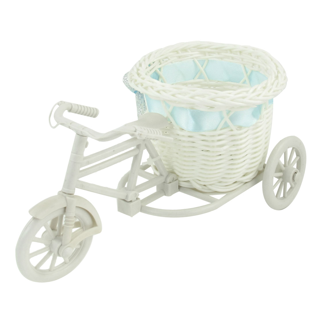 White Plastic Tricycle Design Blue Flower Decor Round Weave Basket Storage Holder