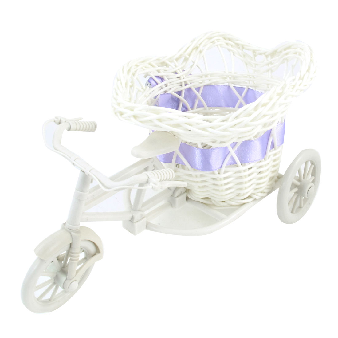 White Plastic Tricycle Design Purple Bowknot Decor Rattan Flower Basket Planter