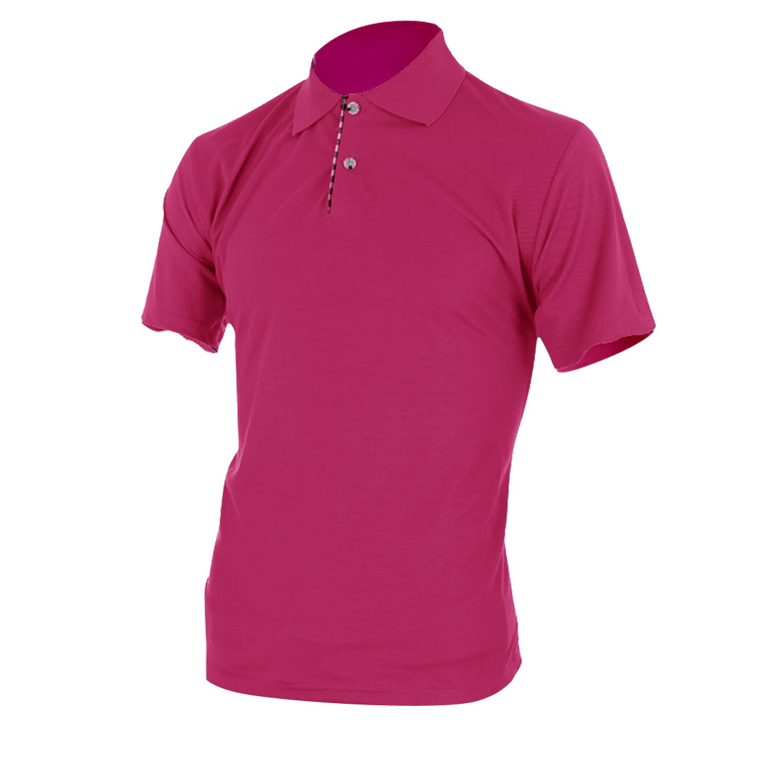 Man Short Sleeve Point Collar Contrast Color Shirt Fuchsia L