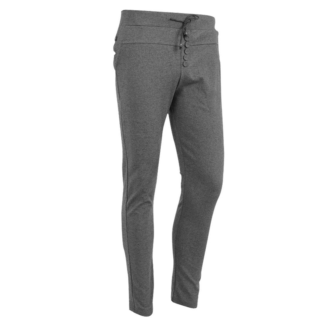 Men Stretchy Adjustable Drawstring Zippered Pocket Pants Light Gray W27
