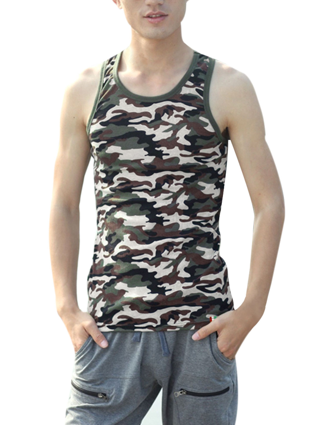 Men Fashion Camouflage Prints Sleeveless Multicolor Tank Top S