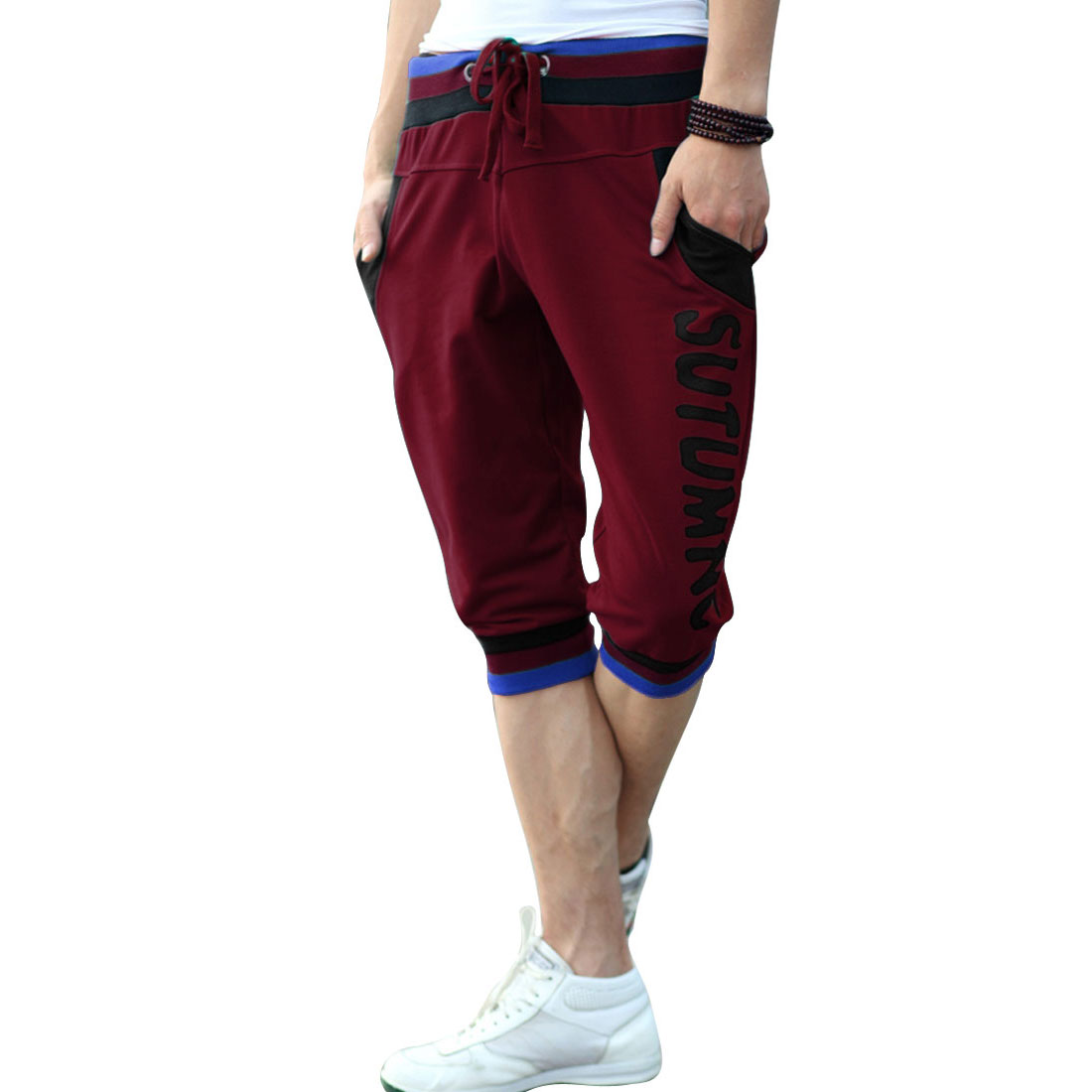 Fashion Color Block Drawstring Back Pockets Men Shorts Burgundy W33