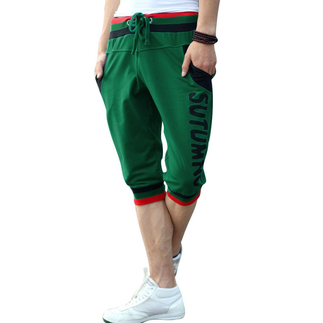 Men Letters Pattern Hip Pockets Drawstring Waist Summer Shorts Green W33