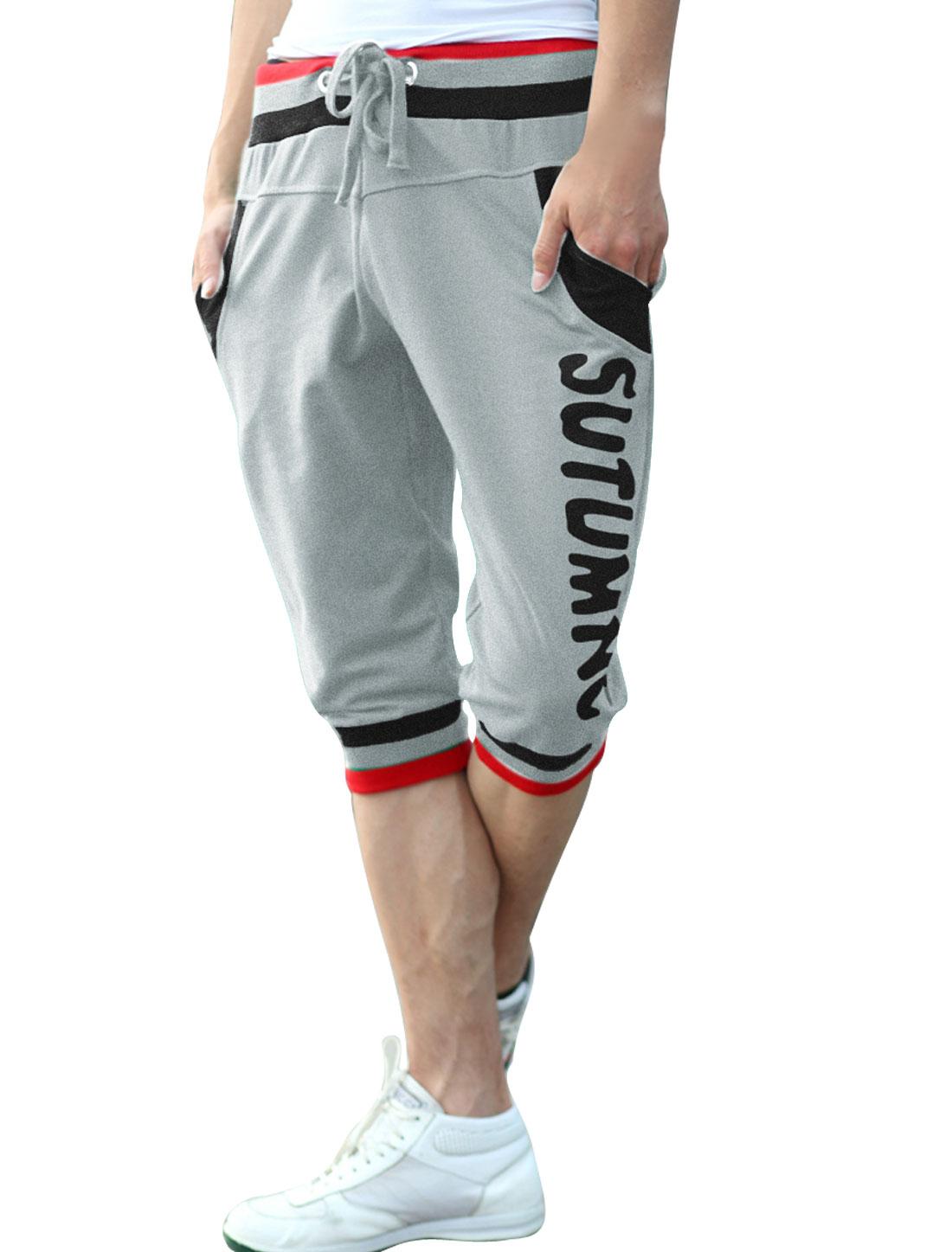Men Slant Pockets Drawstring Letters Pattern Shorts Light Grey W33