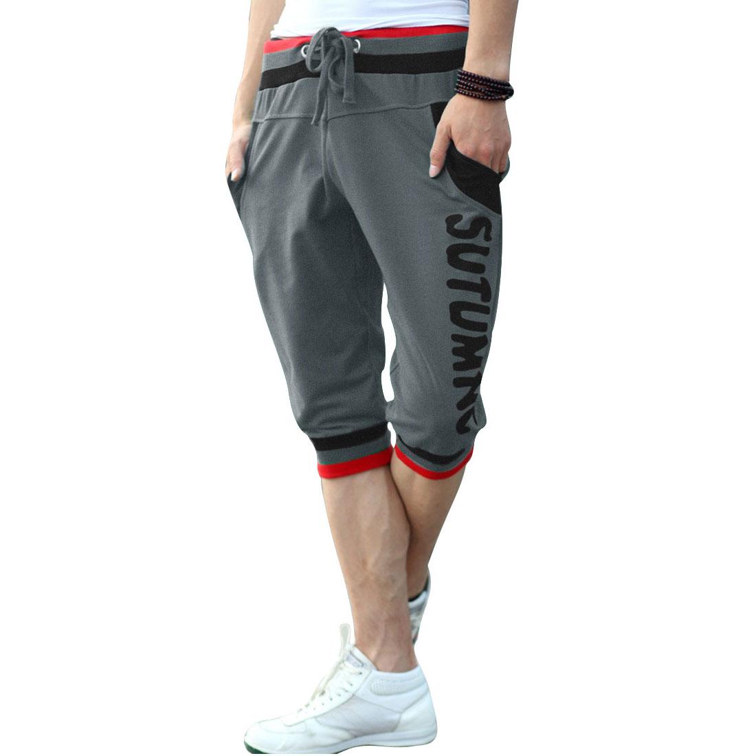 Front Slash Pockets Stretchy Waist Summer Shorts for Men Dark Grey W33