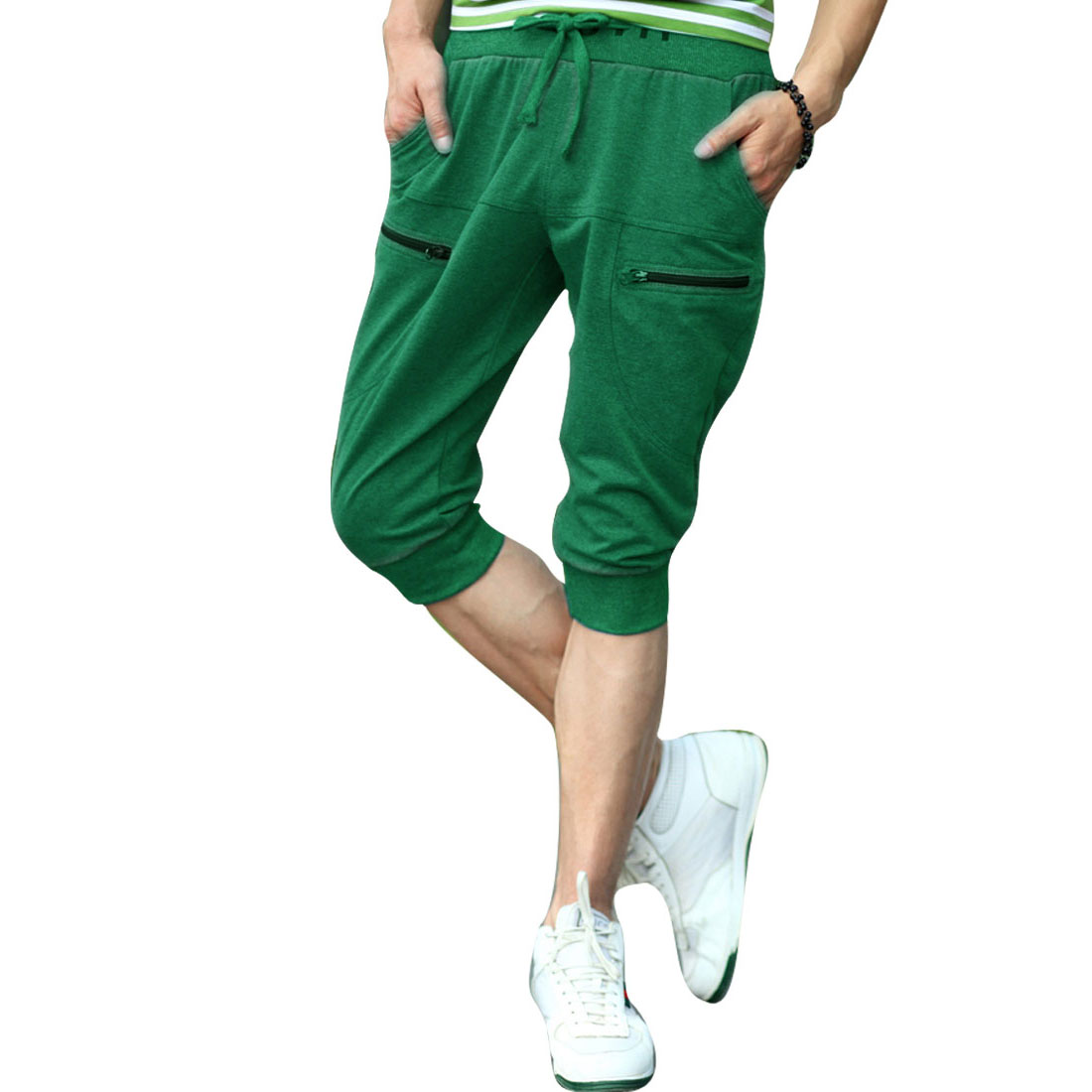 Men Front Slant Pockets Drawstring Waist Back Pockets Shorts Green W31