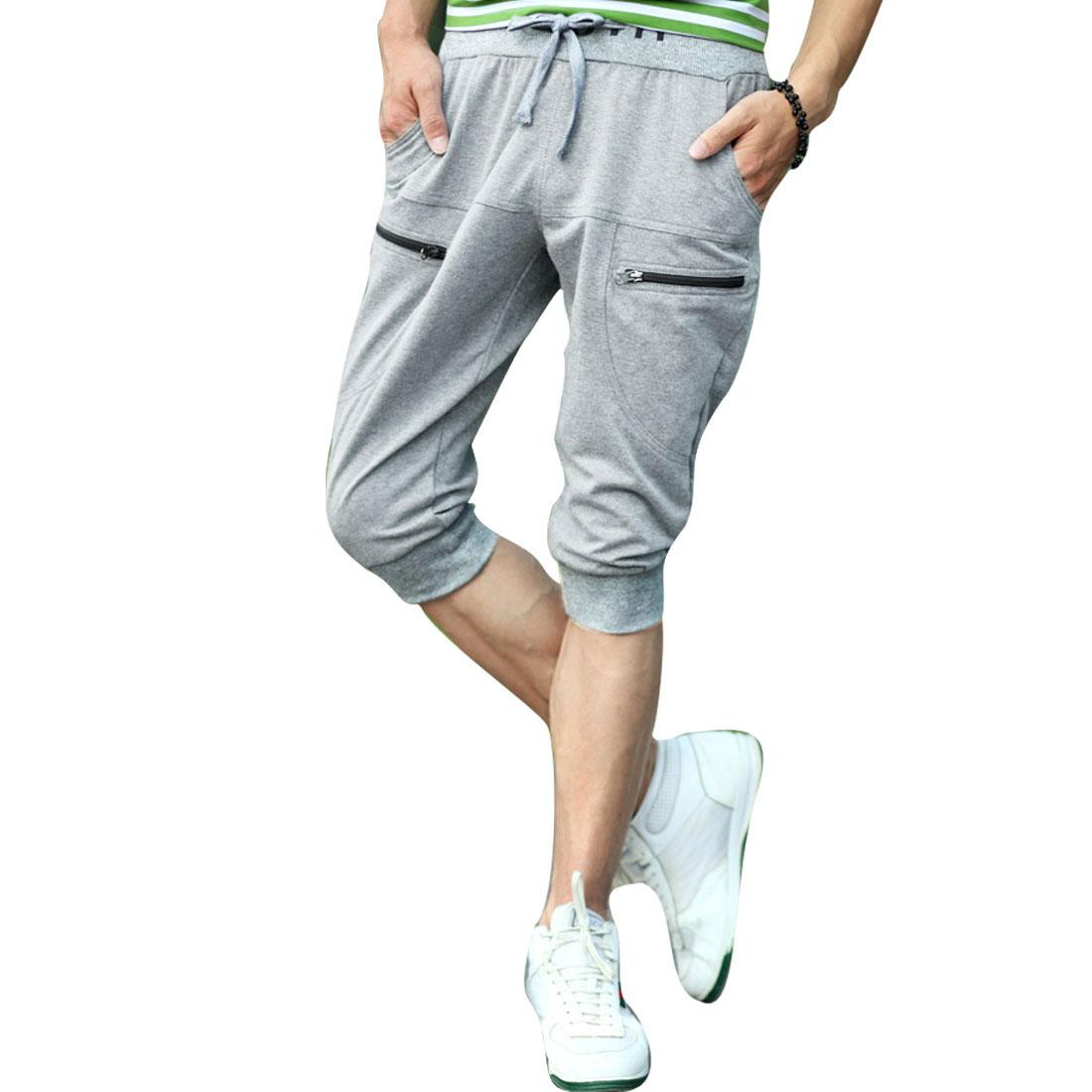 Men Zip Pocket Drawstring Waist Hip Pockets Shorts Light Grey W31