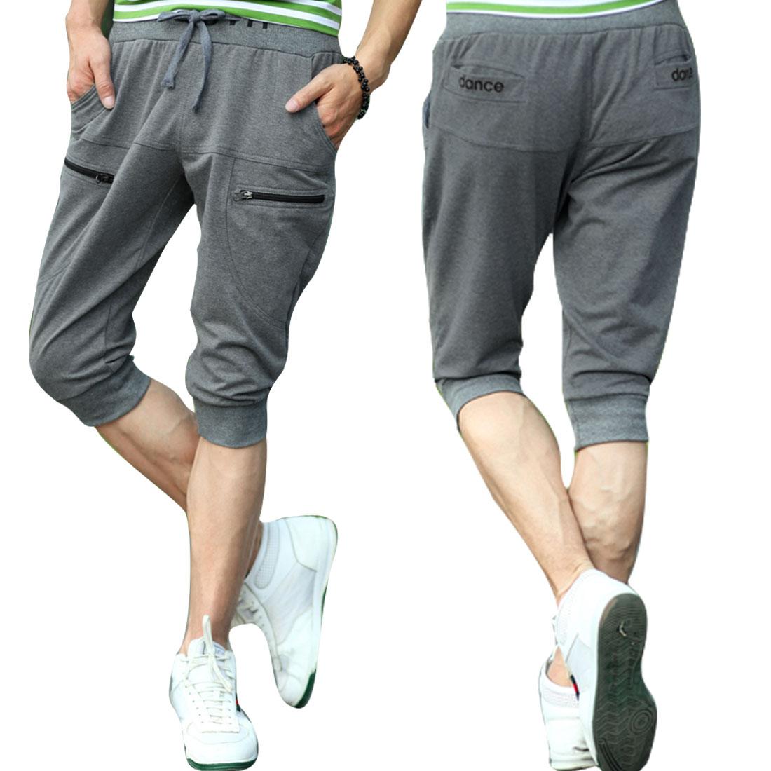 Slash Pockets Men Stretchy Hem Summer Casual Shorts Dark Grey W31