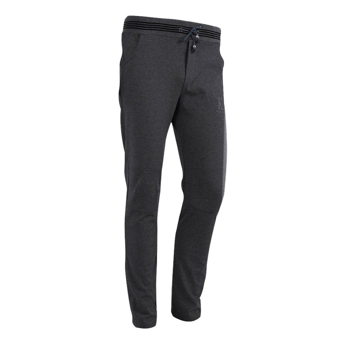 Man Drawstring Hip Pocket Modern Long Leisure Trousers Dark Gray W29