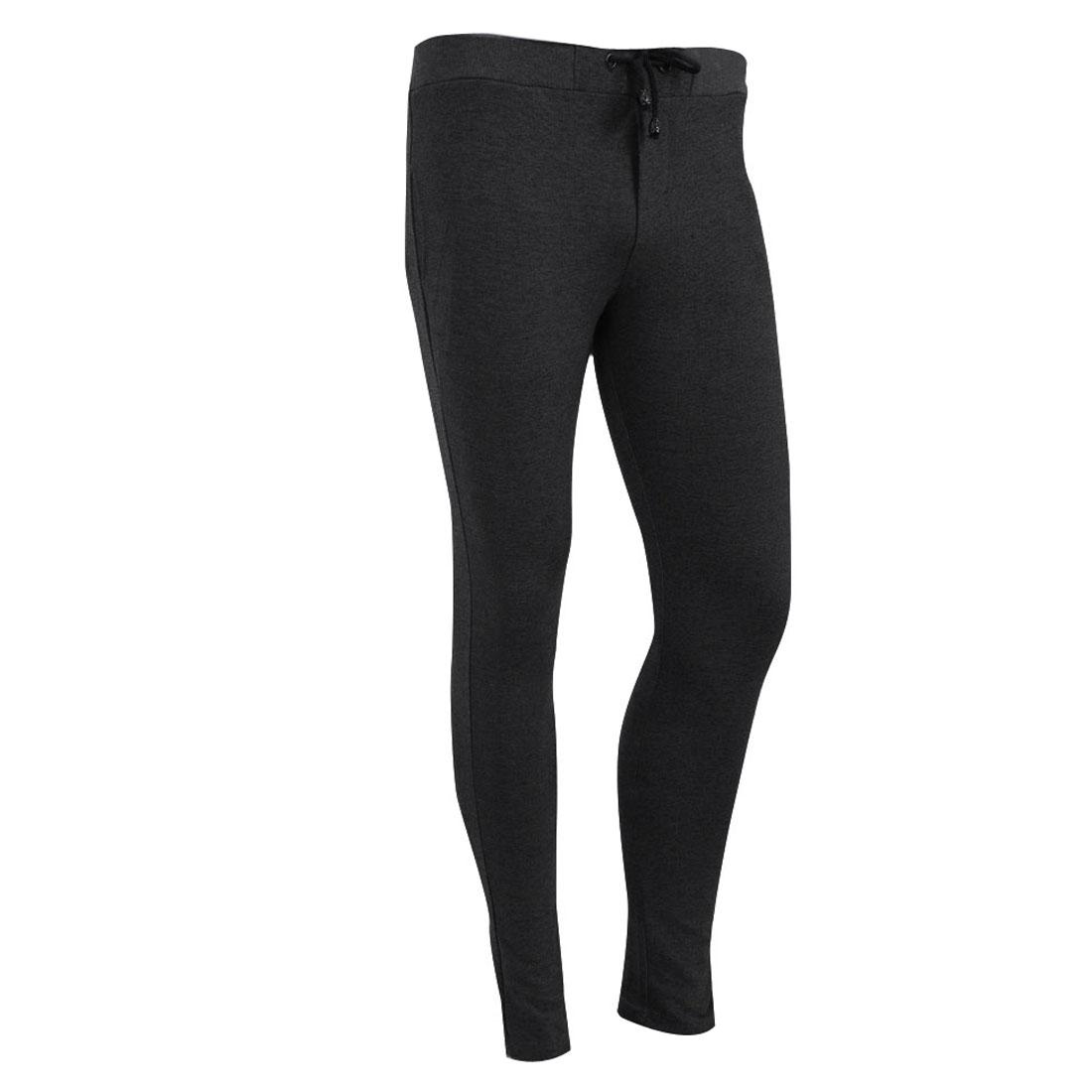 Man Drawstring Hip Pockets Modern Long Fashion Trousers Dark Gray W28