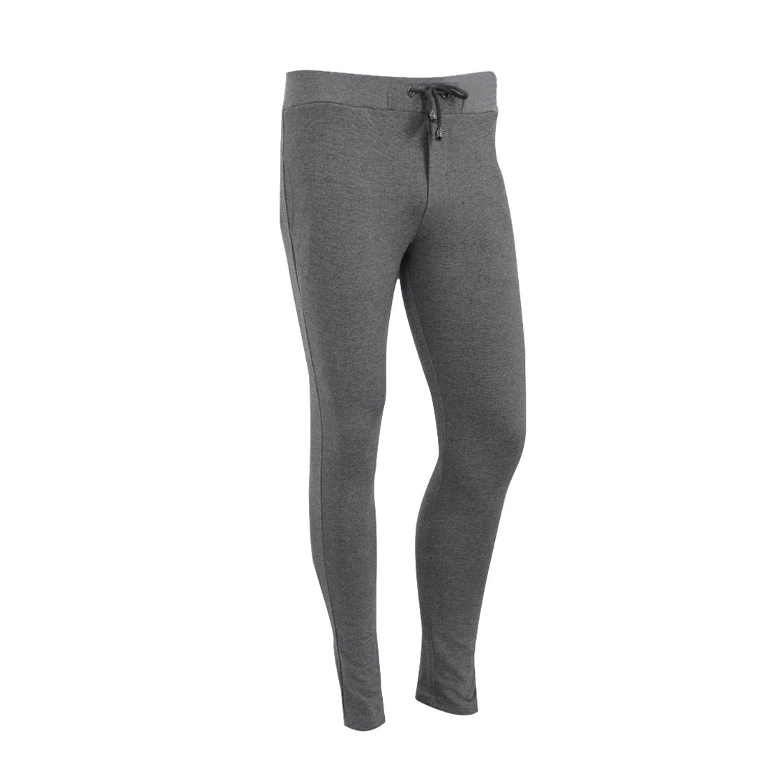 Man Stylish Slant Pockets Stretchy Leisure Harem Pants Light Gray W28