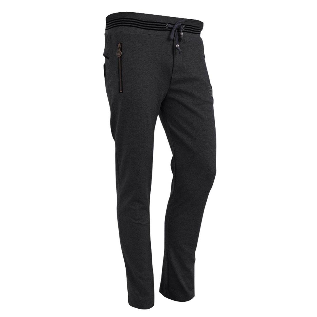 Man Drawstring Zippers Decor Hip Pockets Long Chic Trousers Dark Gray W28