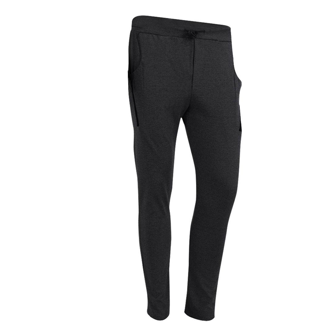 Man Stylish Buttons Slant Pockets Stretchy Leisure Harem Pants Dark Gray W28