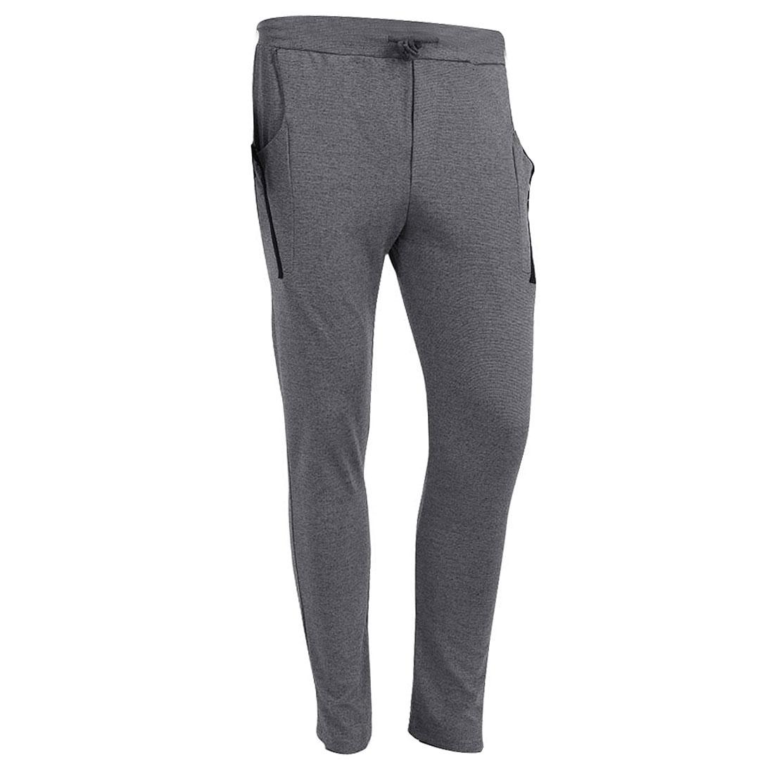 Man Drawstring Hip Pockets Modern Long Fashion Trousers Gray W28
