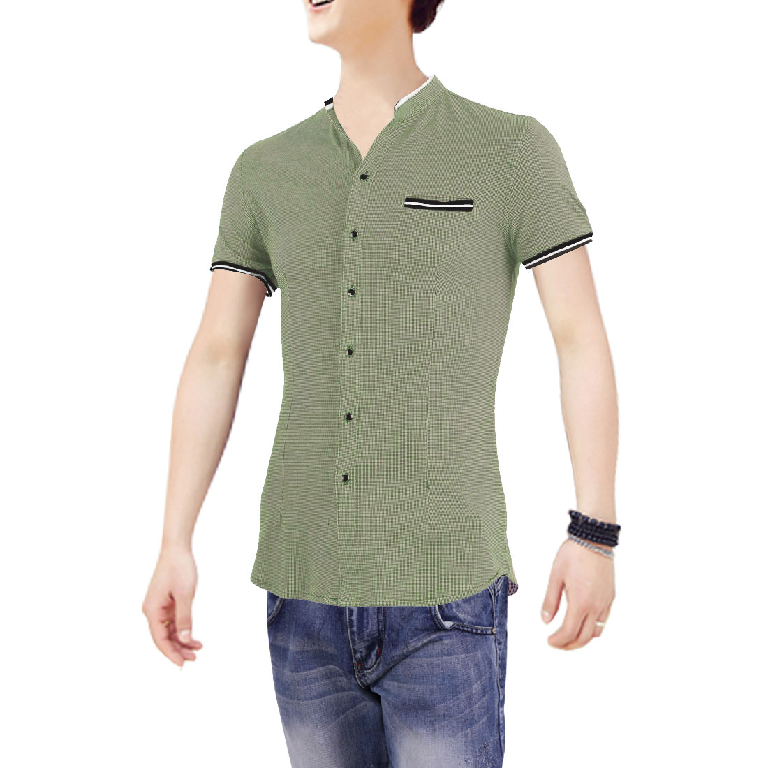 Green M Stand Collar Single Breasted Button Up Short Sleeve Men Shirt