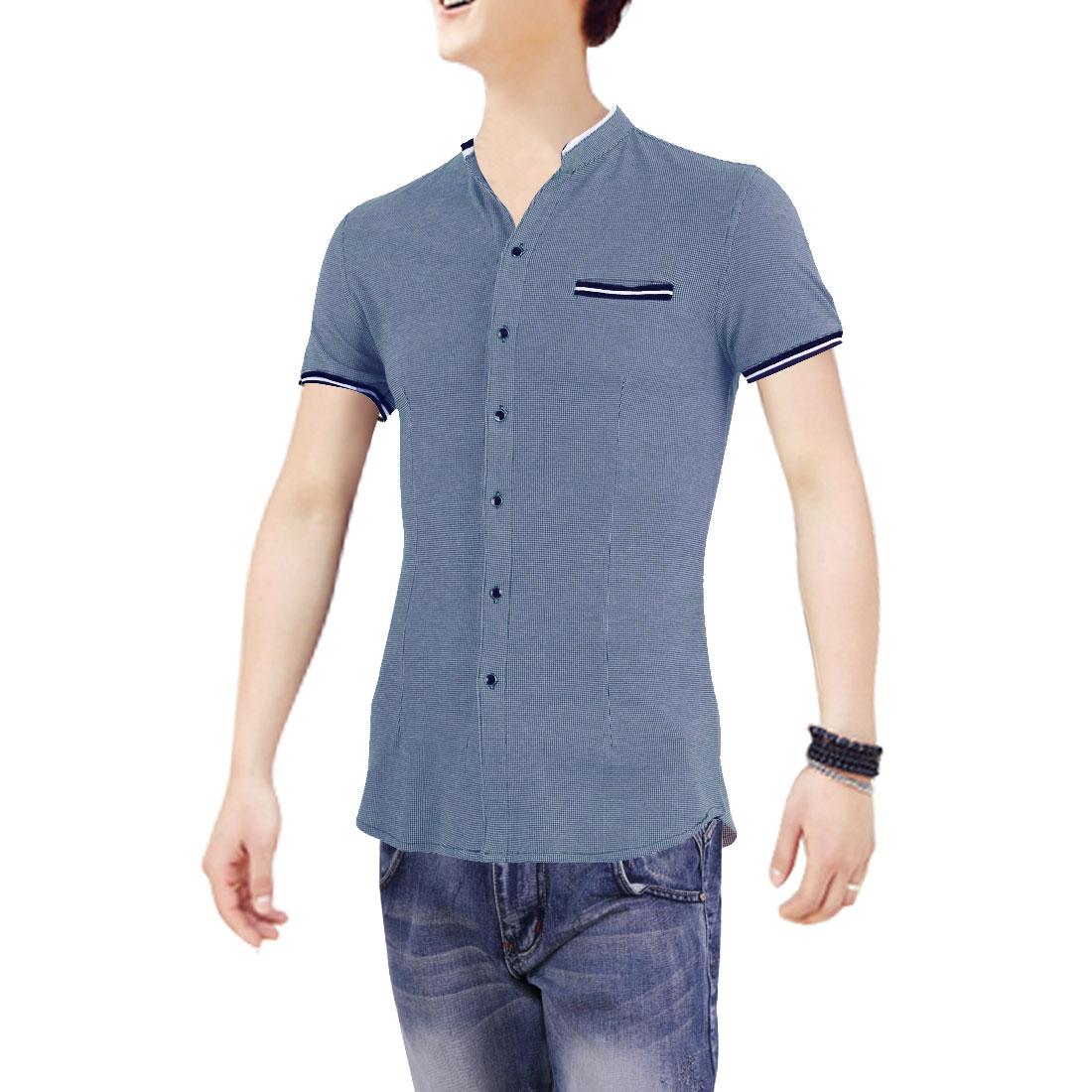 M Men Short Sleeves Design Round Hem Single Breasted Shirt Gray Blue