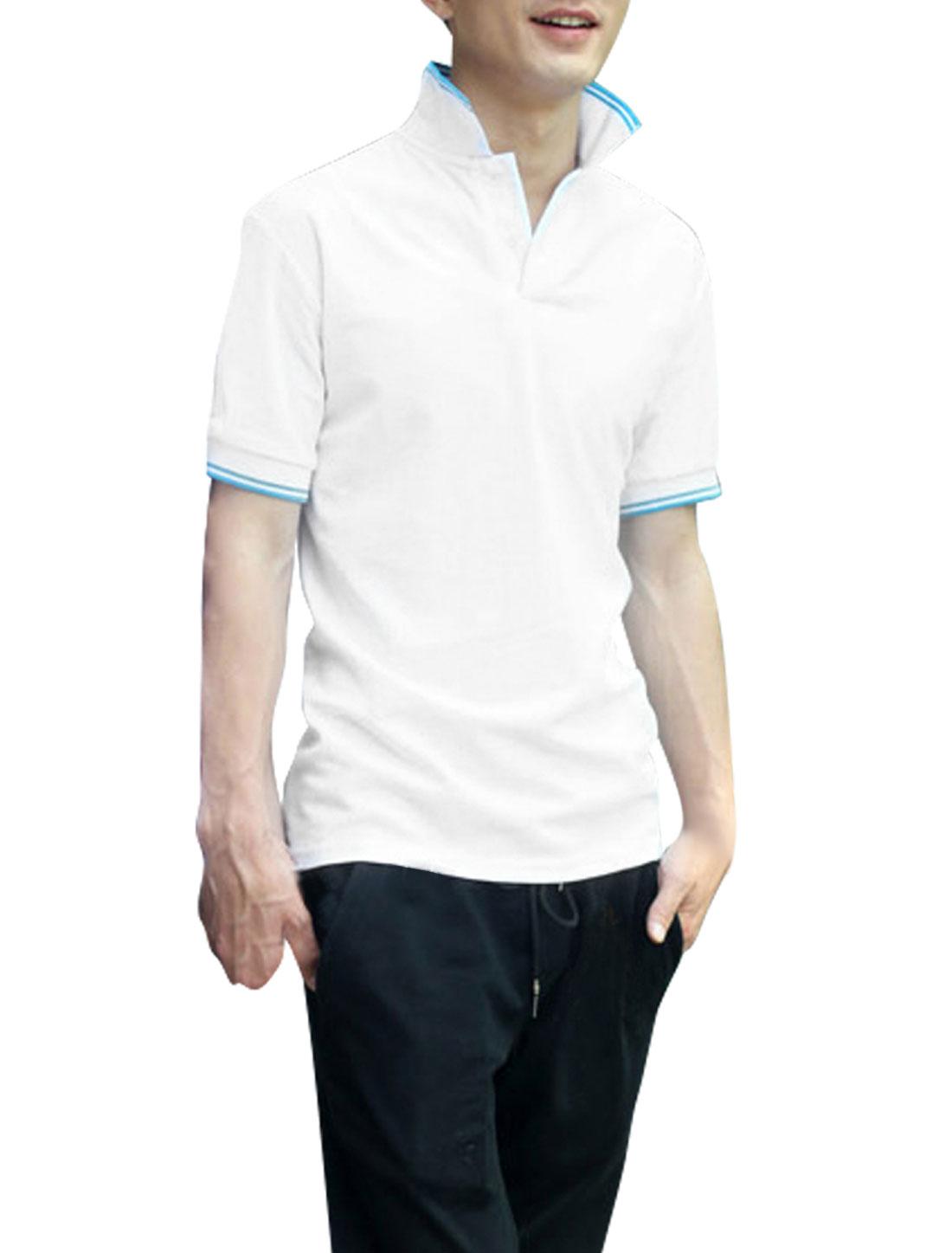 Men Convertible Collar Short Sleeve Stripes Detail Shirt White L