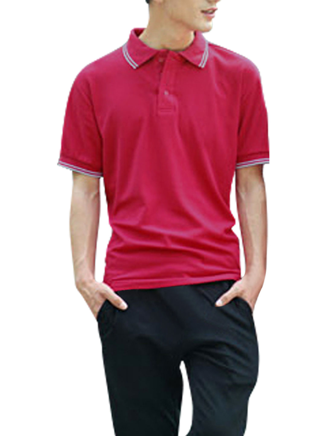 Men Convertible Collar Pullover Ribbing Cuffs Shirt Fuchsia L