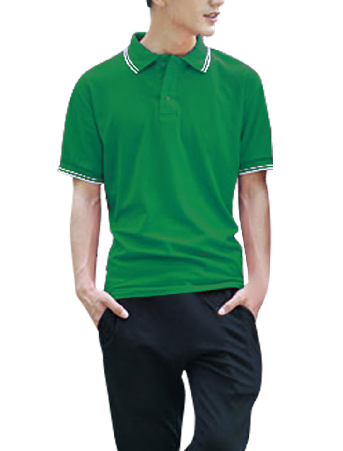 Men Convertible Collar Button Closure Up Polo Shirt Green L