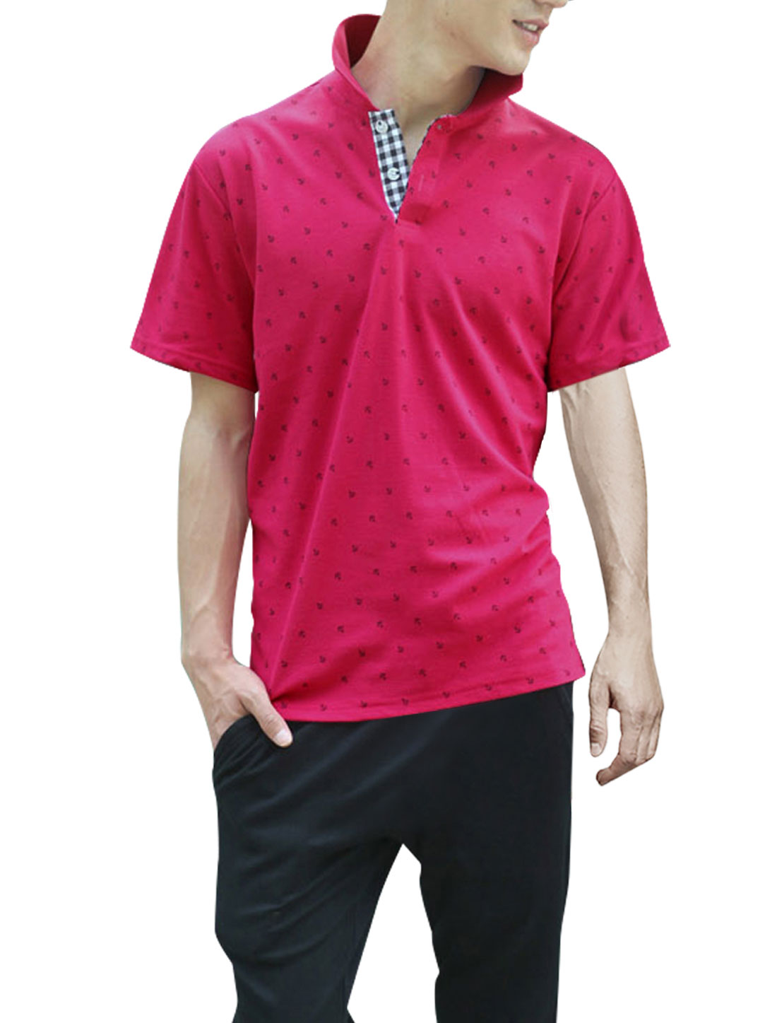 Men Convertible Collar Plaids Decor Inside Shirt Fuchsia L