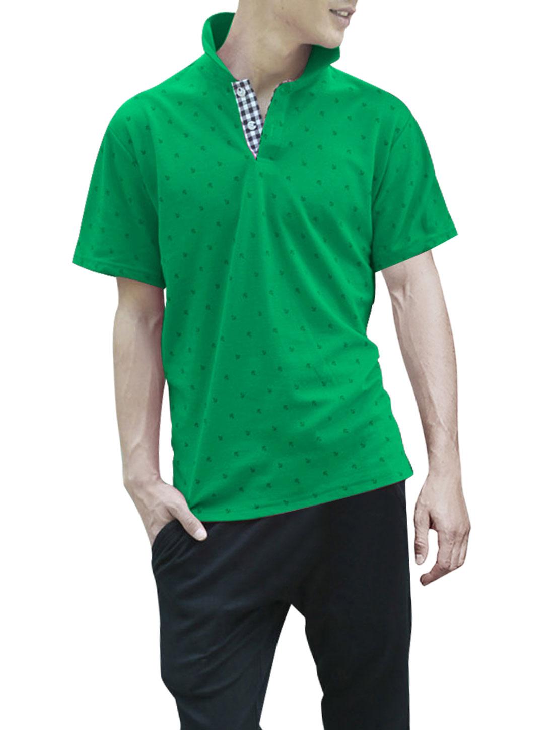 Men Ribbing Collar Pullover Short Sleeve Polo Shirt Green L