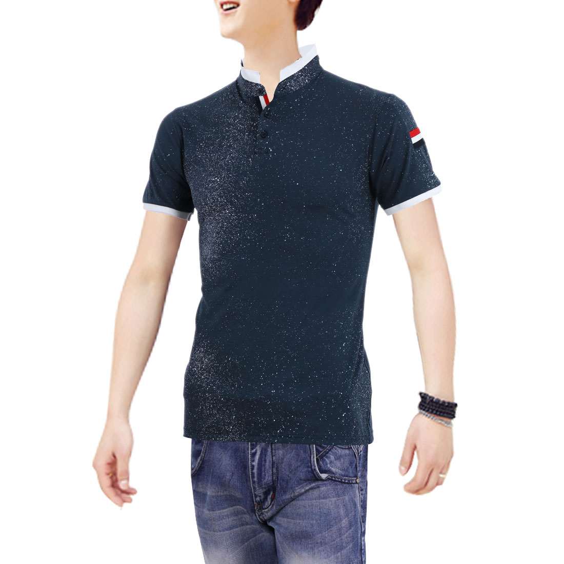 Men Personalized Three Buttons Front Spots Prints Navy Blue Top S
