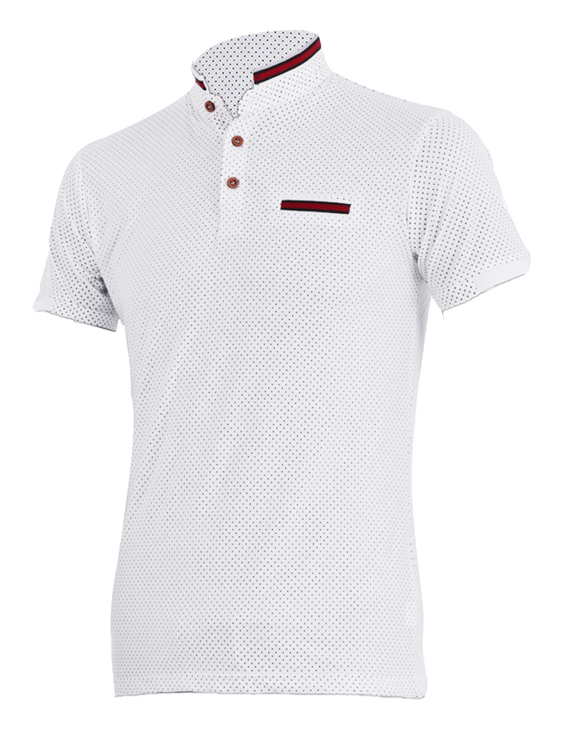 Man New Fashion Point Collar Short Sleeve Dots Pattern White Polo Shirt S