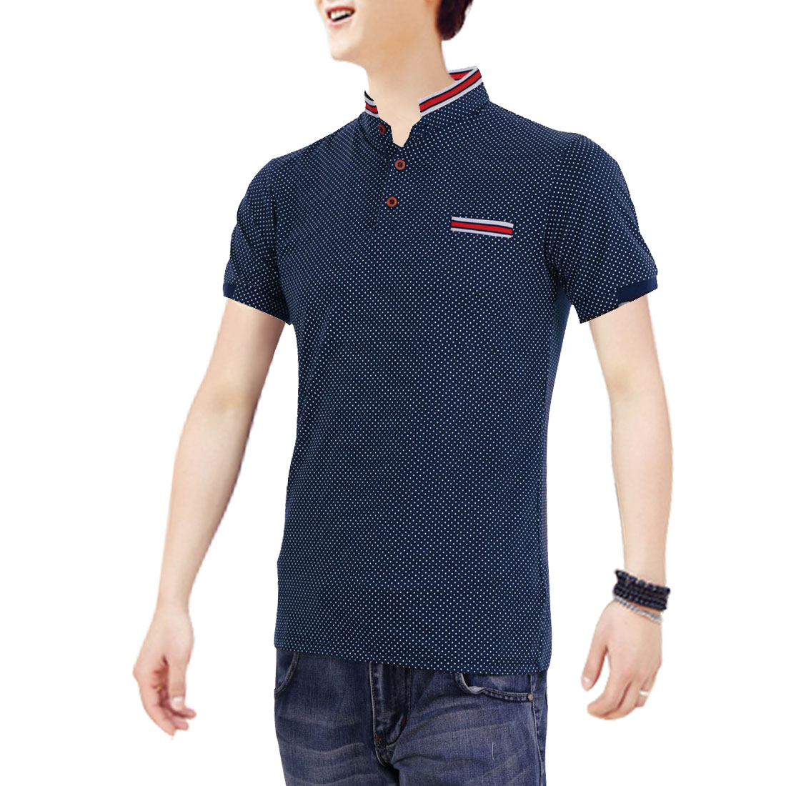 Mens Chic Point Collar Short Sleeve Dots Prints Dark Blue Polo Shirt S