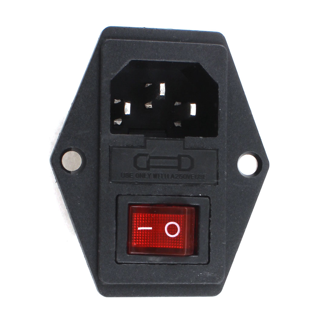Black Red AC 250V 10A 3 Terminal IEC320 C14 Power Socket w Fuse Holder